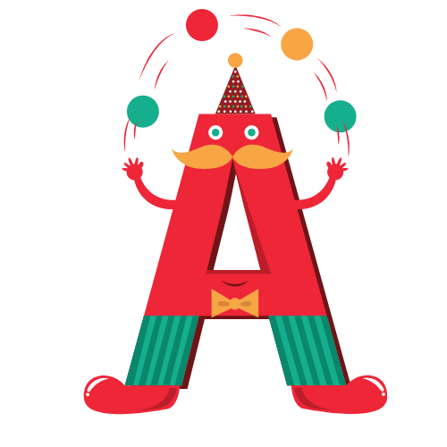 litera A żonglująca piłeczkami